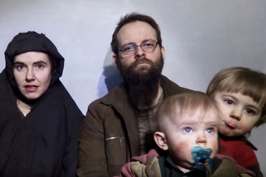 A still image from a video posted by the Taleban on social media in 2016 shows the family members.