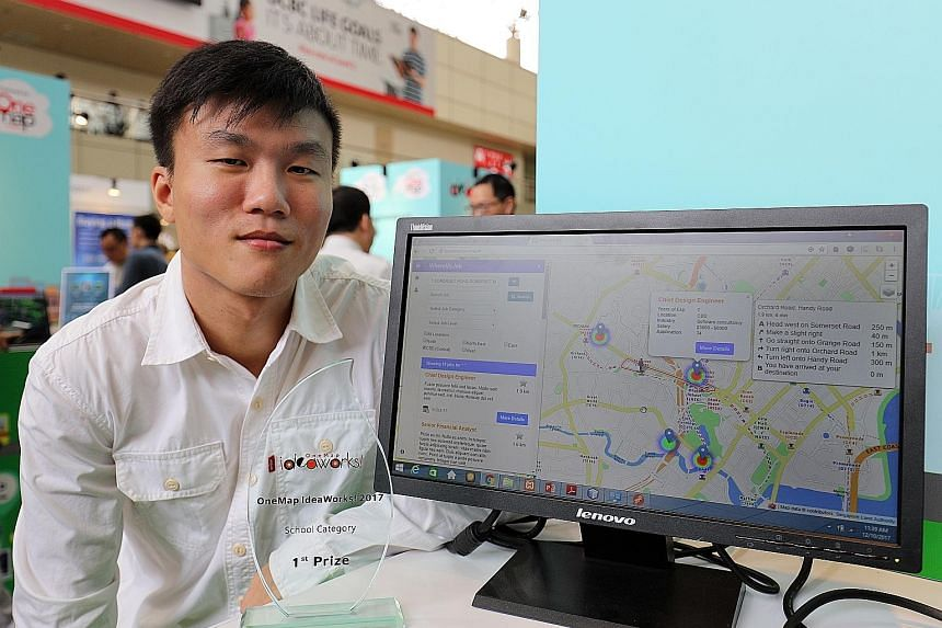 Singapore Institute of Technology undergraduate Lim Xing Yi clinched first prize in the school category of the OneMap IdeaWorks challenge with his Web app WhereMyJob, which places job listings on a map to help users visualise job availability across