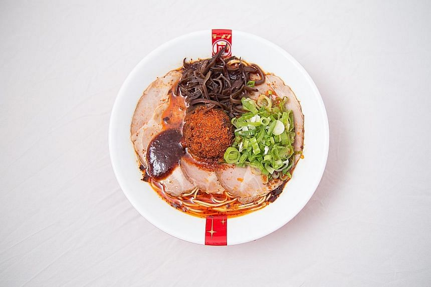 Three of Ramen Nagi's signature ramen are (from left) Spicy Red King, Black King and Butao King.