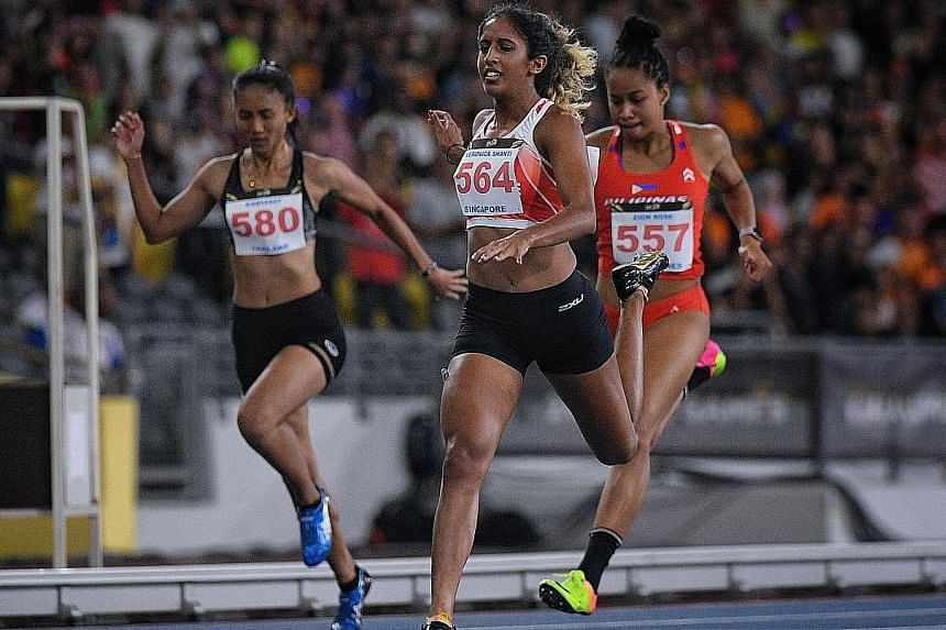 Shanti Pereira, defending her 200m title from the 2015 Singapore SEA Games, crossing the finish line in third place in August in Kuala Lumpur. She admitted afterwards that she had been affected by the discord in the athletics association.