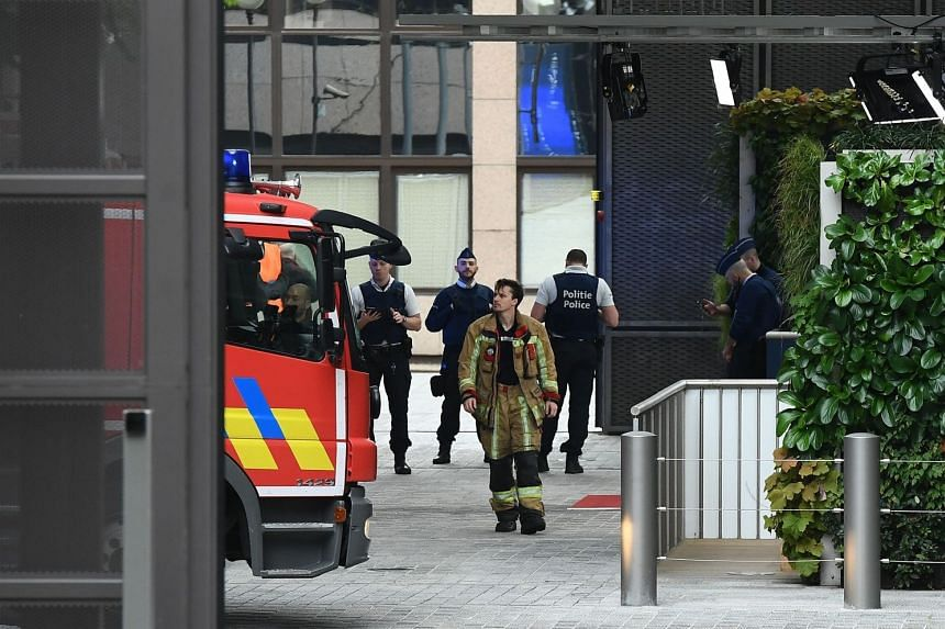 Belgian rescue personnel at the European Council in Brussels on Oct 13, 2017..