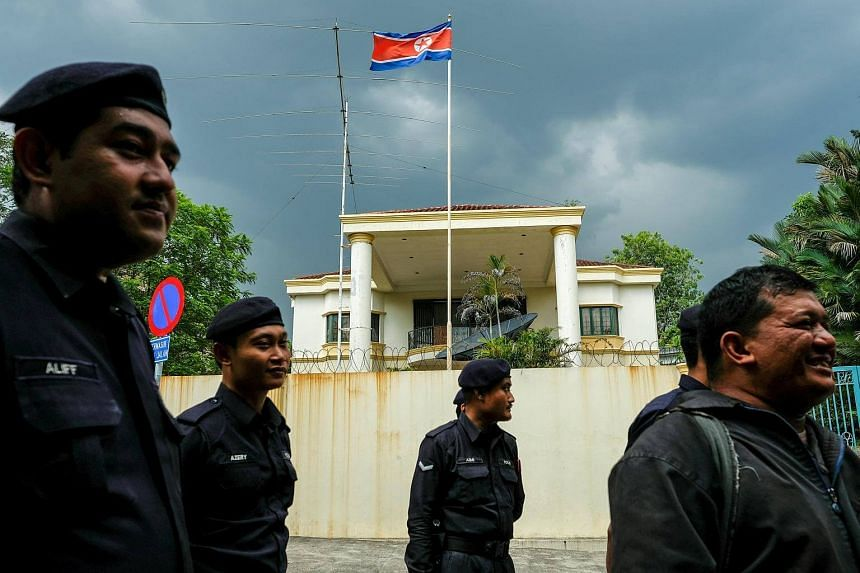 Malaysian police officers are seen in front of the North Korea embassy in Kuala Lumpur, Malaysia. Malaysia's ties with North Korea have deteriorated since the February assassination of Kim Jong Un's estranged half brother at Kuala Lumpur internationa
