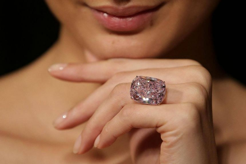 The Pink Raj, which weighs just over 37 carats, was displayed by auction house Sotheby's in London this week.