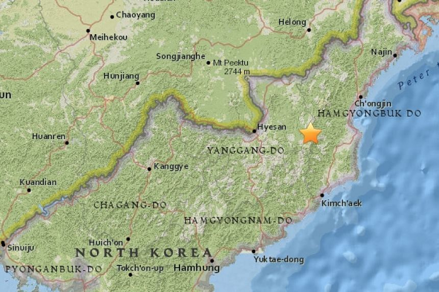 The quake was magnitude 2.7 with a depth of 3km in North Hamgyong Province in North Korea.