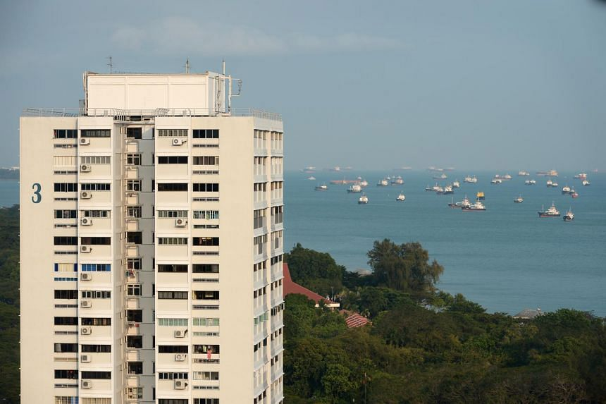 The Singapore Strait is seen behind HDB Block 3 at Marine Terrace.