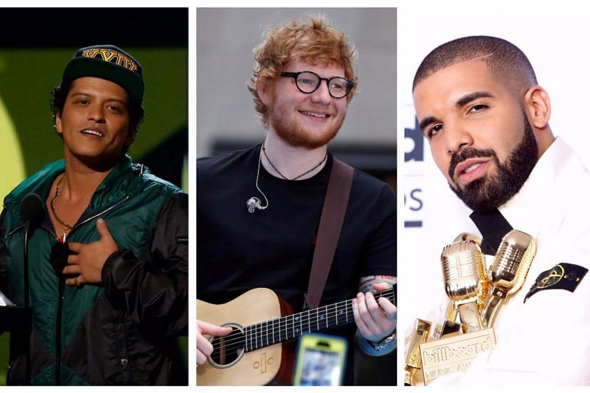 (From left) Bruno Mars, Ed Sheeran and Drake lead the nominations.