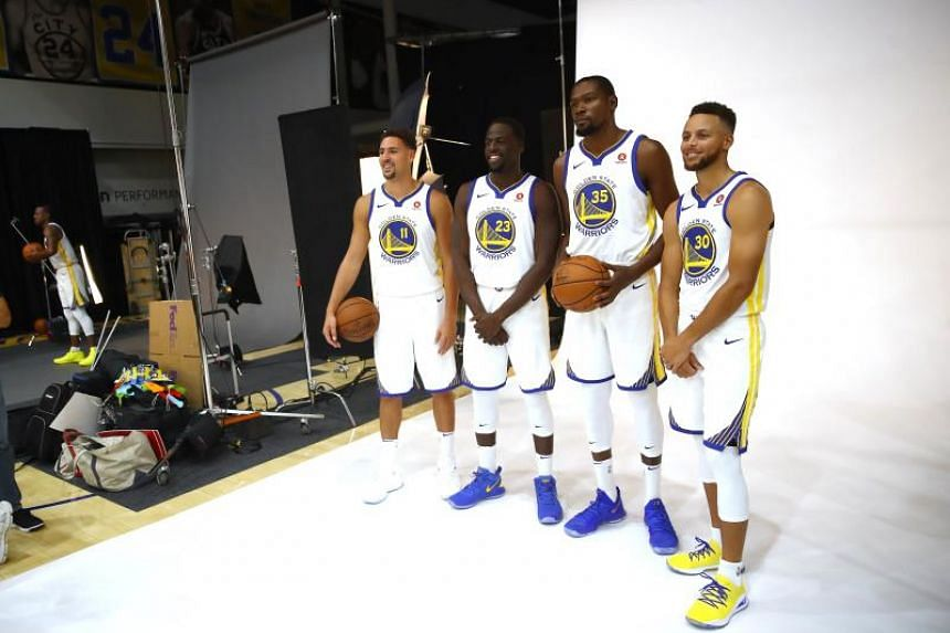From left: Golden State Warriors guard Klay Thompson, forward Draymond Green, forward Kevin Durant, and guard Stephen Curry during media day at Rakuten Performance Center on Sept 22, 2017. The four All-Stars form the core of the NBA's biggest supert