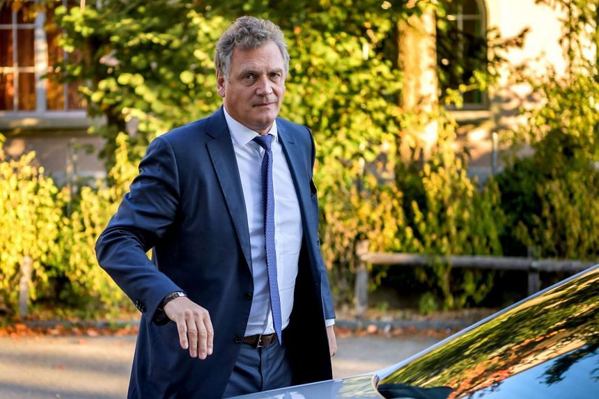 Valcke arrives at the Court of Arbitration for Sport prior to his appeal in Lausanne.