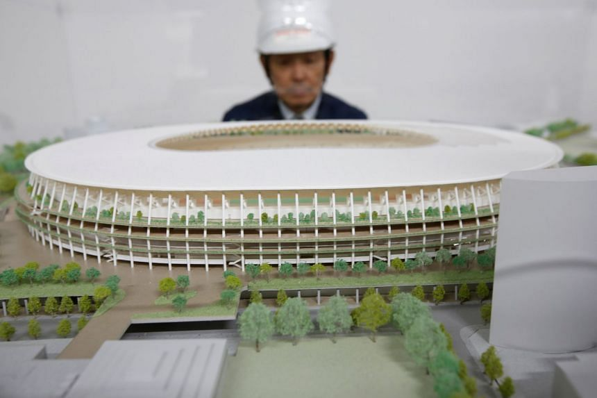 Japan Sport Council reveals a 1/500 scale miniature of the New National Stadium, the main stadium of Tokyo 2020 Olympics and Paralympics in Tokyo, Japan on Oct 13, 2017.
