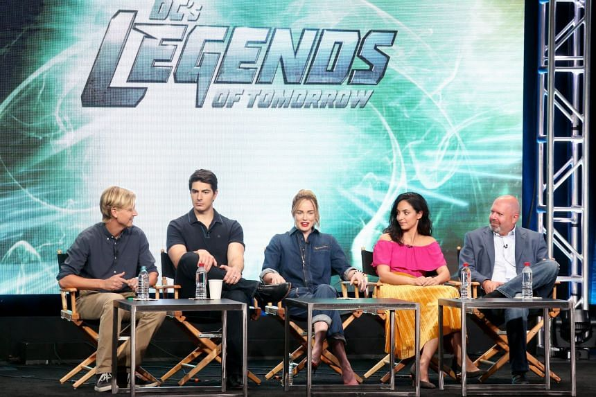 (From left) Legends Of Tomorrow's executive producer Phil Klemmer, actors Brandon Routh, Caity Lotz, Tala Ashe, and executive producer Marc Guggenheim at the 2017 Summer Television Critics Association Press Tour at The Beverly Hilton Hotel in August.