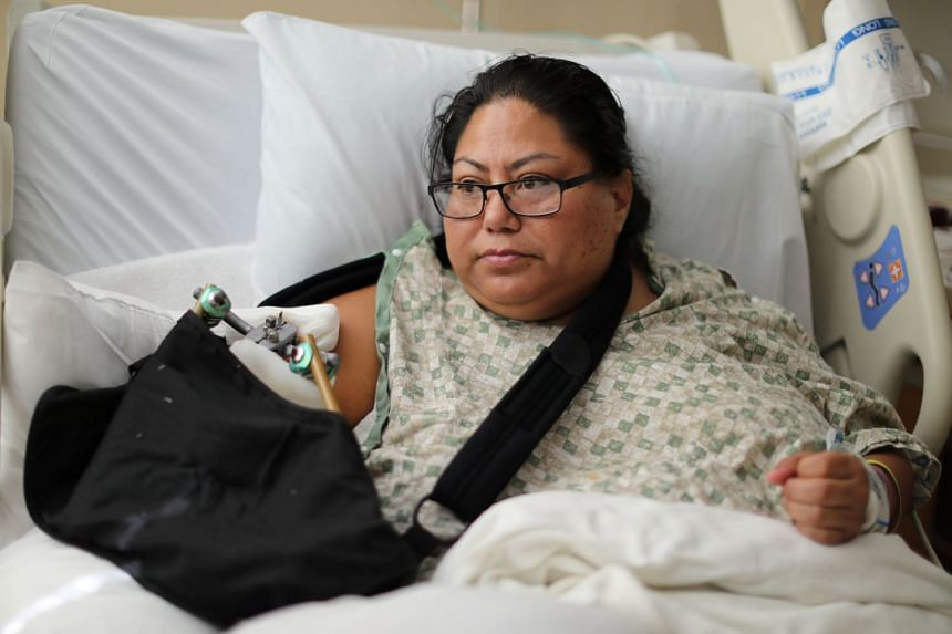 Paola Bautista, 39, from Fontana, California, in her hospital bed at Sunrise Hospital & Medical Centre, Oct 4, 2017.