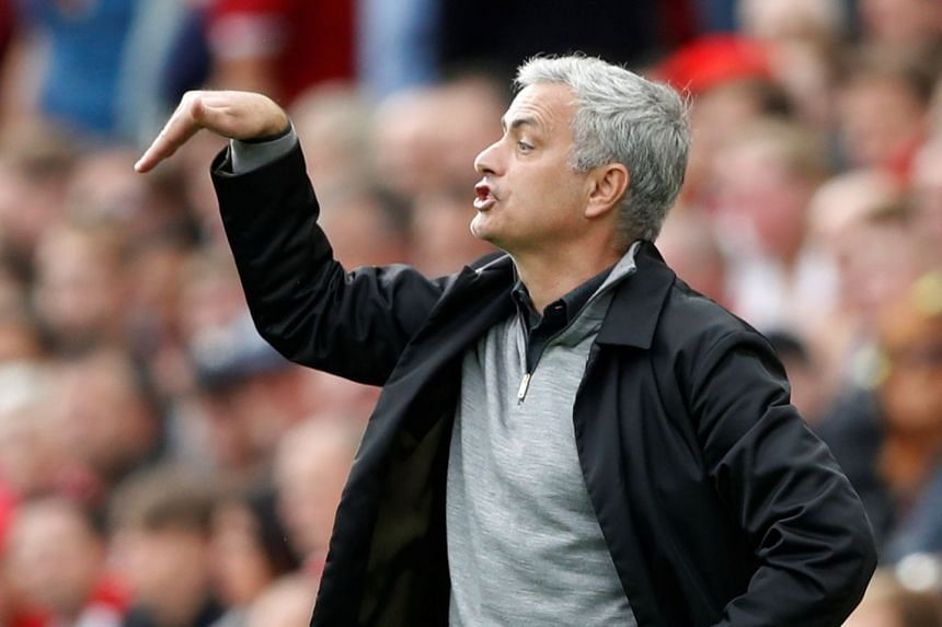 Mourinho (above, during the match) noted the absence of midfield options from the United bench.
