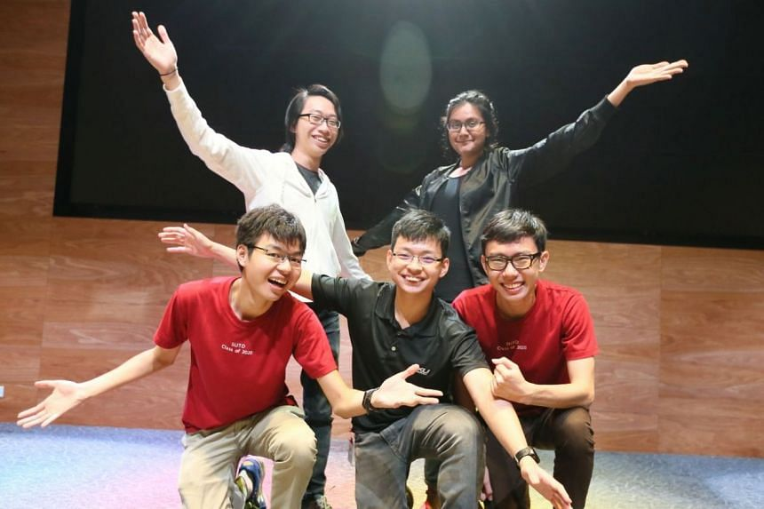 The winning team for fake news hackathon: (front row left to right) Brandon Ong, 21, Timothy Lui, 21, Tong Hui Kang, 21, and (back row left to right) Khong Jia Wei, 21, and Fariha Ahsan, 21.