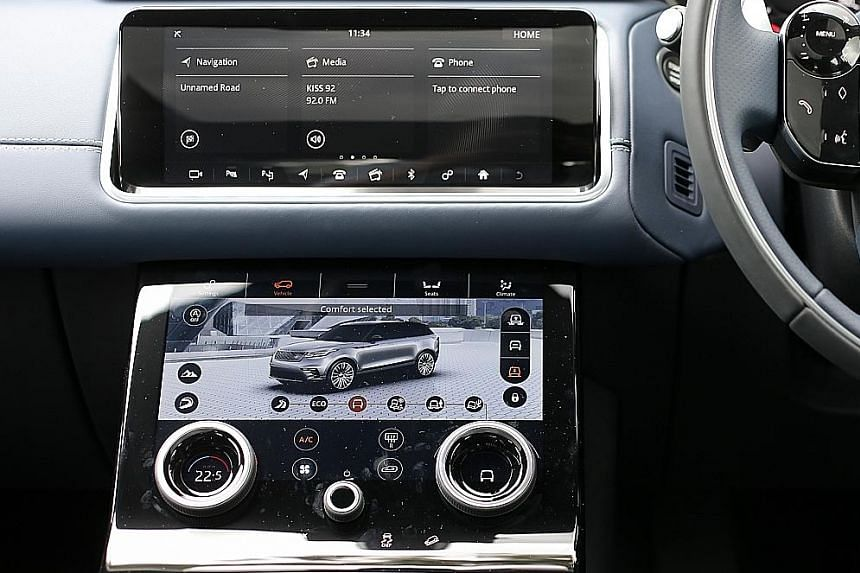 Expect refined moves from the Velar - an SUV with clean, modern lines. A pair of 10-inch infotainment touchscreens takes centre stage inside.