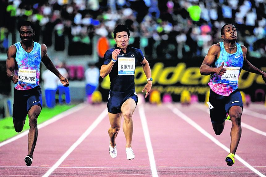 Yoshihide Kiryu (centre) in the Diamond League meet's 100m final at the Olympic Stadium in Rome last June. Last month, Kiryu was the first Japanese to record 9.98sec at an inter-collegiate meet, shaving off 0.02sec off the national record set by Koji