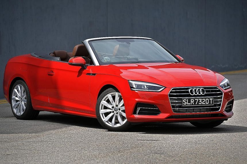 The A5 Cabriolet's top opens in 15 seconds and closes in 18 seconds; its dashboard is modern and classy.