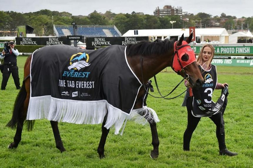 Winning horse Redzel is paraded after Jockey Kerrin McEvoy rode her to win the Everest 2017 horse race on Oct 14, 2017.