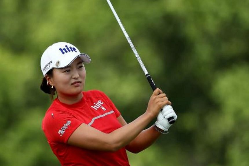 Jin Young Ko of Korea takes her shot off the ninth tee during the final round of the US Women's Open on July 16, 2017.