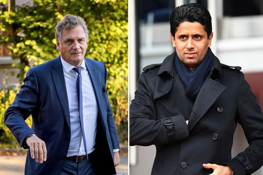 "Jerome Valcke (left) has denied receiving ""undue advantages"" from Nasser Al-Khelaifi (right)."