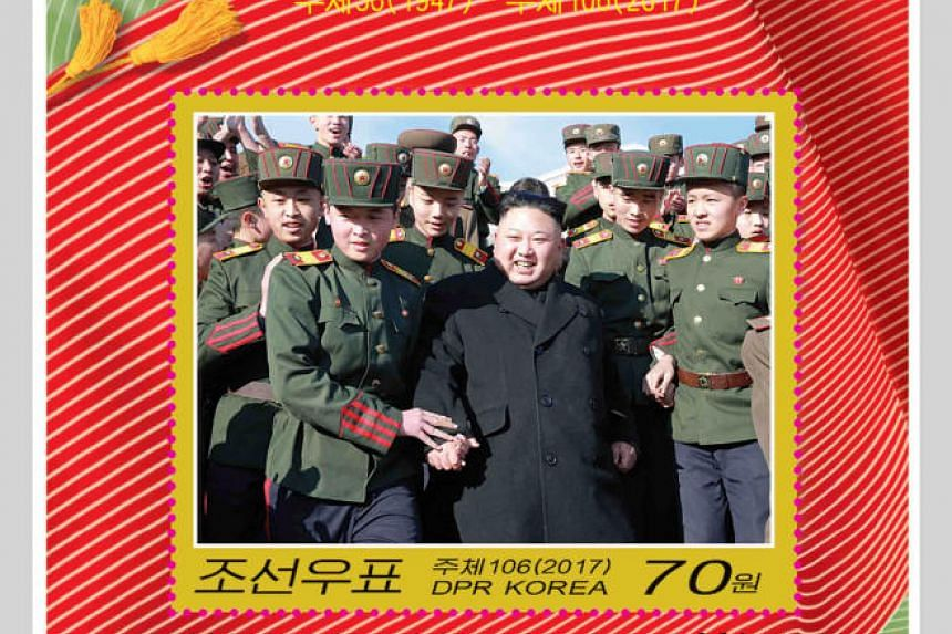 A new stamp featuring North Korea's leader Kim Jong Un is issued in celebration of the 70th anniversary of the founding of Mangyongdae Revolutionary School, in this picture released by North Korea's official Korean Central News Agency (KCNA) in Pyong