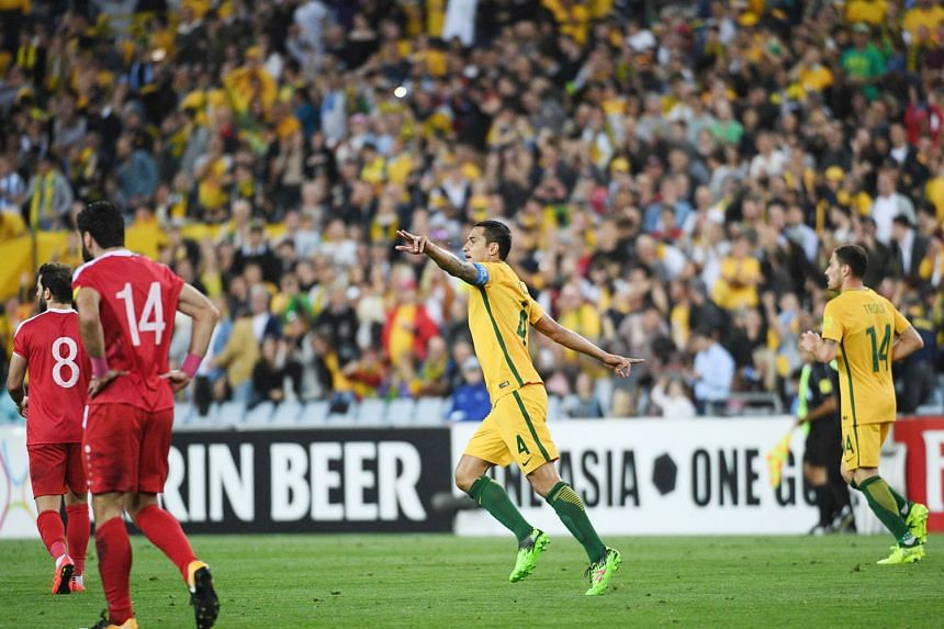 Australia forward Tim Cahill celebrating his extra-time winner against Syria on Tuesday in a manner that deviated from the norm. It has emerged that Cahill might have been paid to do so to promote TripADeal, an online travel agency.