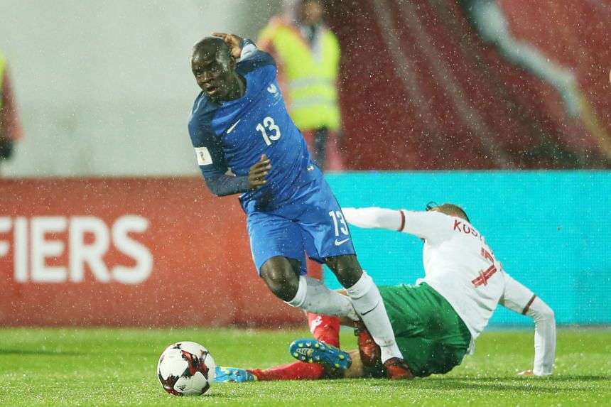 France's N'Golo Kante winning the ball from Bulgaria's Georgi Kostadinov during their World Cup qualifier last Saturday. The Chelsea dynamo suffered a hamstring injury during the 1-0 away win.