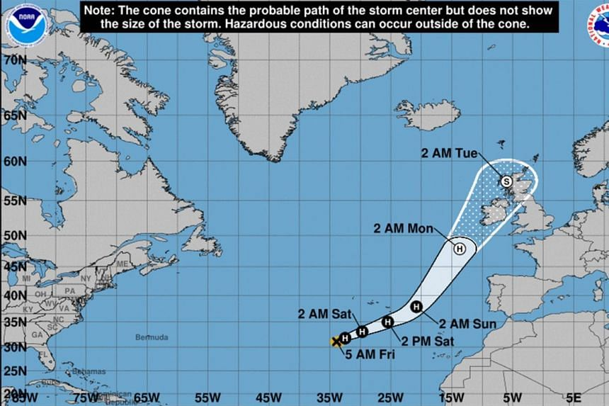 Ophelia is expected to move past the island of Santa Maria before approaching Ireland.