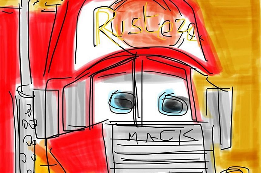 The drawings, which started as a way to encourage the grandson's interest in letters and words, have evolved from stick figures to more complex subjects such as Mack the truck (above) from the film Cars, and BB-8, the droid from Star Wars.