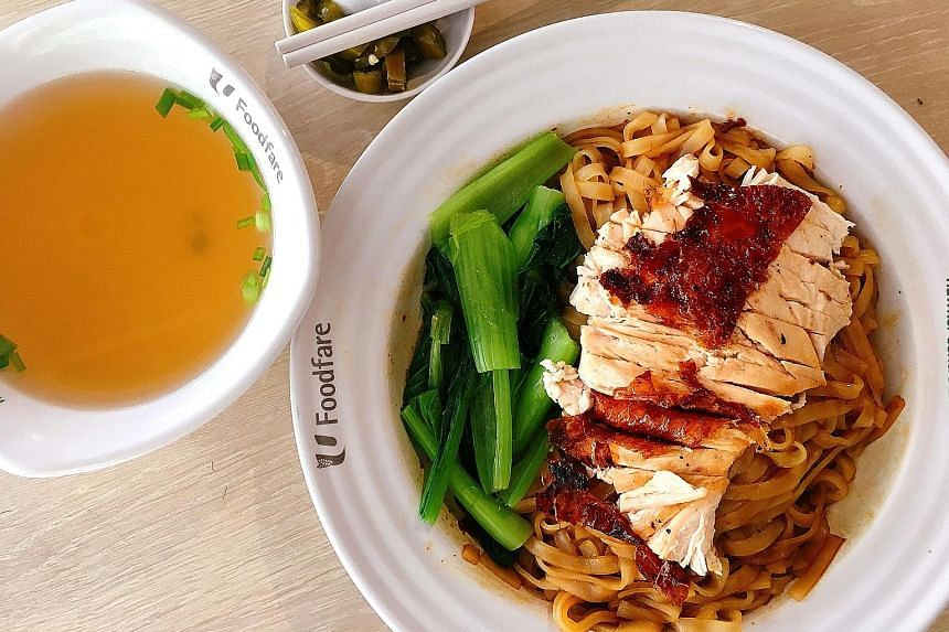 Xin Ban Mian's Delicious Ban Mian dish (left) and BP Roasted Delights' Shredded Chicken Hor Fun.