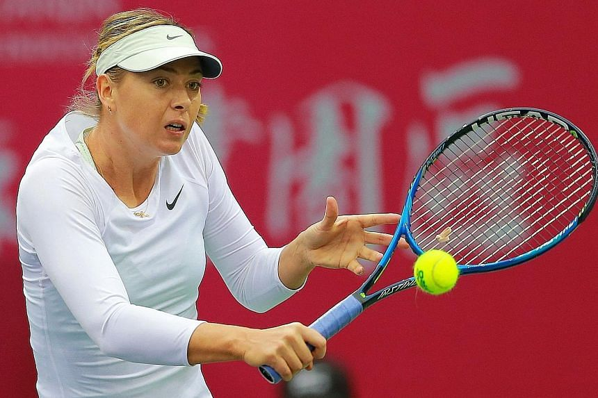 Maria Sharapova sweeping past defending champion Peng Shuai 6-3, 6-1 in 78 minutes yesterday. She will play world No. 102 Aryna Sabalenka, 19, of Belarus in today's final.