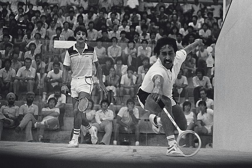 Rahim Gul (right) playing in an exhibition match against fellow Pakistani Umar Hayat in the 1980s. Rahim was regarded as one of the best in the business during Singapore squash's heyday, when the Republic was among the top nations in the world.