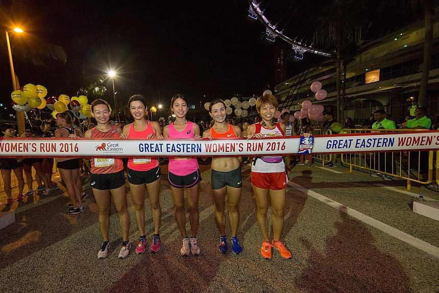 From left: Neo Jie Shi, Jenny Huang, Rachel See, Anne Qi Hui and Jasmine Goh at the start of last year's Great Eastern Women's Run at The Float@Marina Bay. National marathoner Jasmine Goh points out that even small changes in lifestyle can bring fitn
