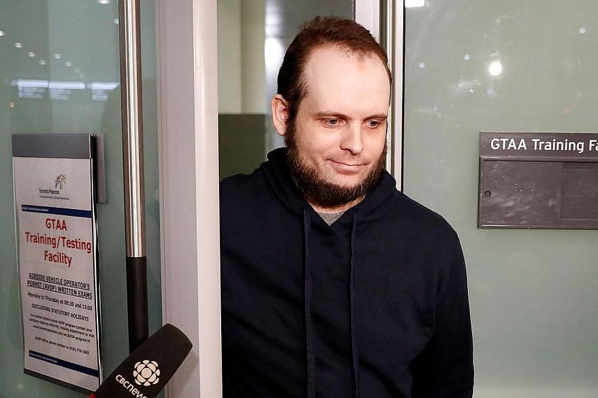 Mr Joshua Boyle arriving at Toronto Pearson International Airport last Friday, nearly five years after he and his wife were abducted in Afghanistan by the Taleban-allied Haqqani network.