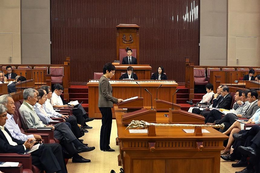 Mr Tan (in the Speaker's chair at the back) at his first sitting as Singapore's 10th Speaker of Parliament on Sept 11. In his inaugural speech, Mr Tan said he wants to facilitate good, free-flowing debate where the desired outcome is better policies and l