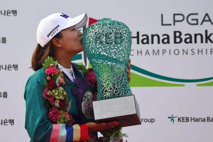 Ko Jin-Young of South Korea during the awards ceremony after winning the LPGA KEB Hana Bank Championship at Sky72 Golf Club in Incheon on Oct 15, 2017.