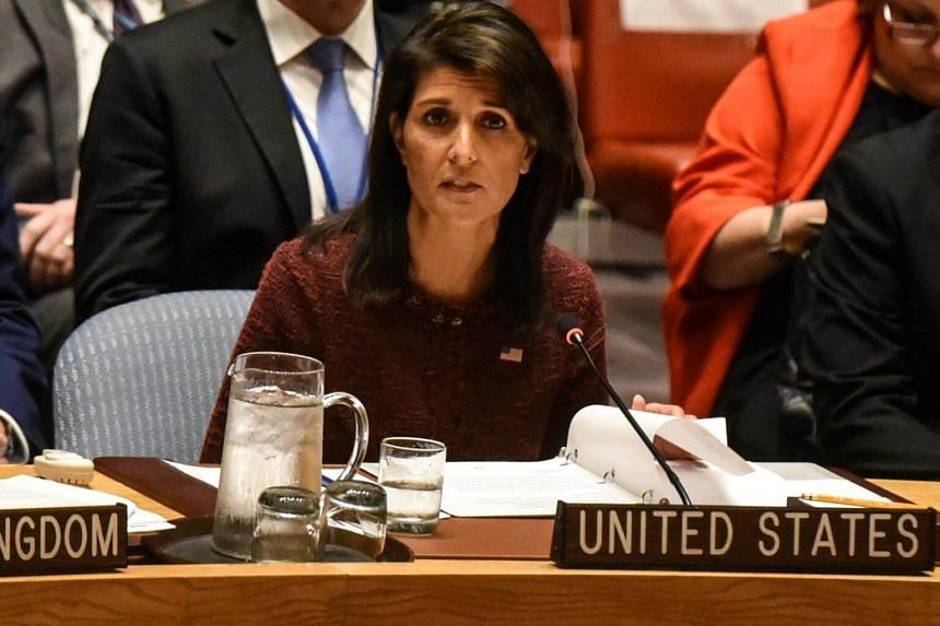 US Ambassador to the United Nations Nikki Haley delivers remarks at a security council meeting at UN headquarters in New York City, US on Sept 21, 2017.