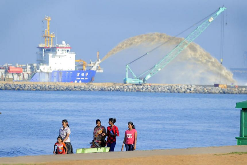 Chinese dredging vessel Wan Qing Sha operating at the Colombo Port City reclamation. Once completed, the US$1.4 billion Chinese-funded project will cover 269 ha and include a financial centre, luxury hotels, shopping malls and a marina.