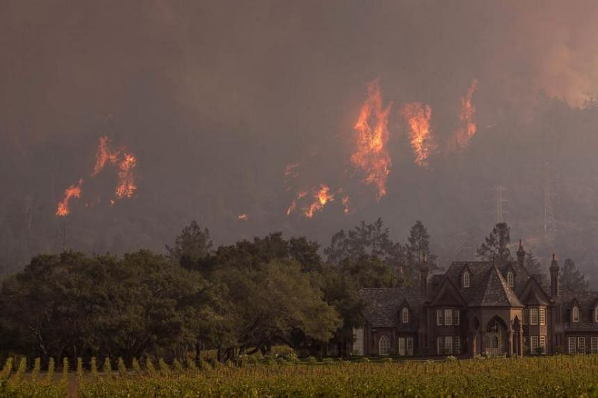 Flames rise behind Ledson Winery on Oct 14, 2017, in Kenwood, near Santa Rosa, California.