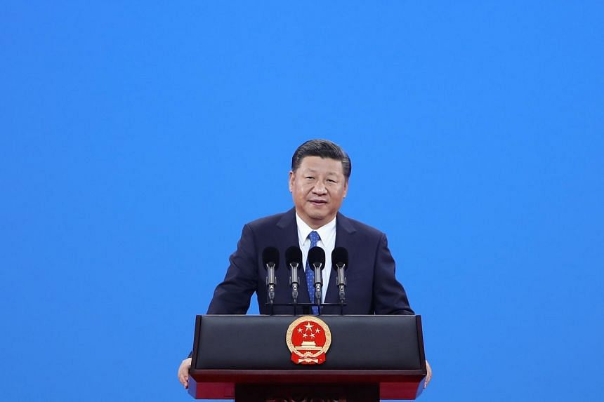 Chinese President Xi Jinping speaks during the 86th Interpol General Assembly at Beijing National Convention Centre in Beijing.