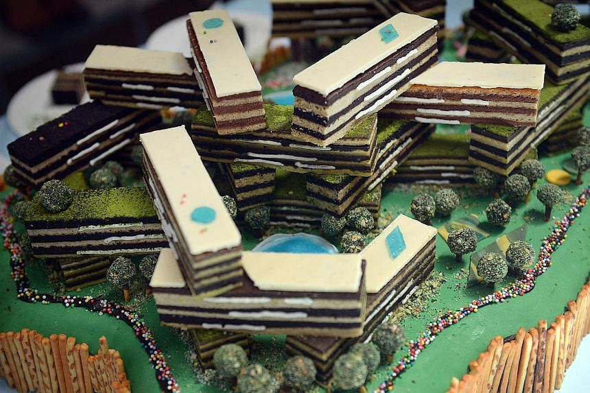 Cake creations at The Great Architectural Bake-Off last Saturday included those inspired by local condominium The Interlace, the Esplanade and Gardens by the Bay.