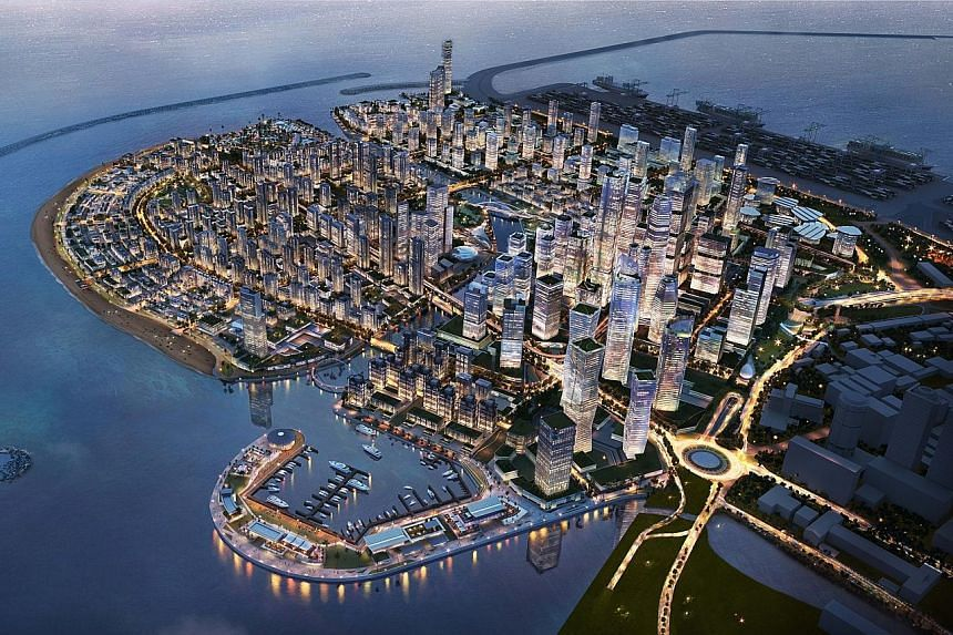 Top and above: Artist's impressions of the future Colombo Port City development on reclaimed land that will reshape the city centre. Once completed, the US$1.4 billion (S$1.89 billion) Chinese-funded project will cover 269ha and include a financial c