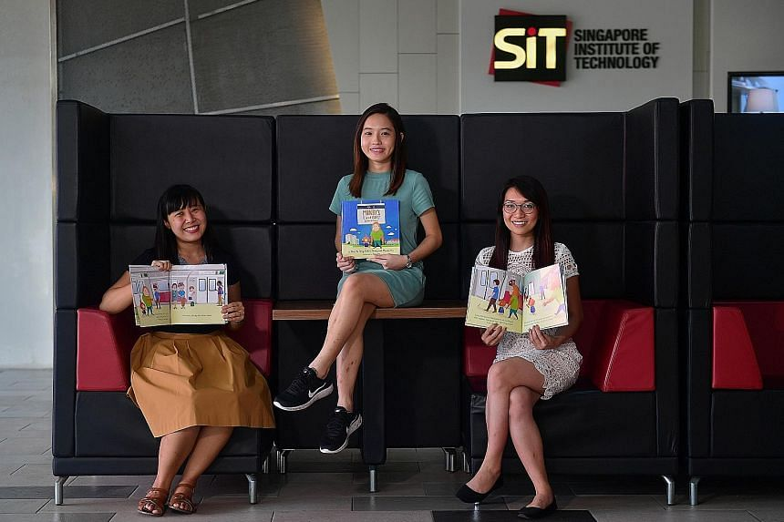 Mindy's First MRT Adventure creators (from left) Debra Thang, Chin Yu Teng and Wendy Yee put the book together as part of a literacy module at Singapore Institute of Technology Wheelock College's early childhood course. They realised that there were