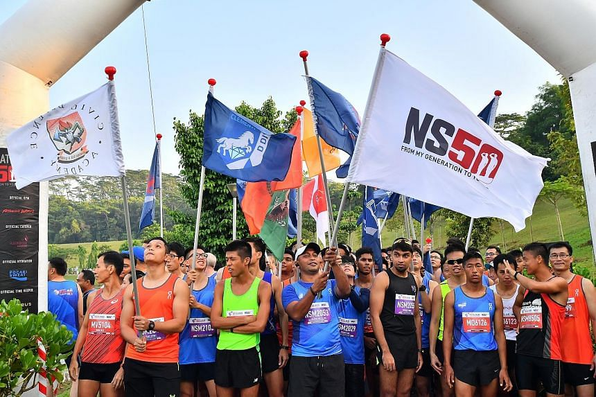 To celebrate 50 years of national service, a 100-strong flag contingent of operationally ready national servicemen and runners from Special Olympics Singapore took part in the 22nd edition of the HomeTeam NS Real Run yesterday. The 14 Special Olympic