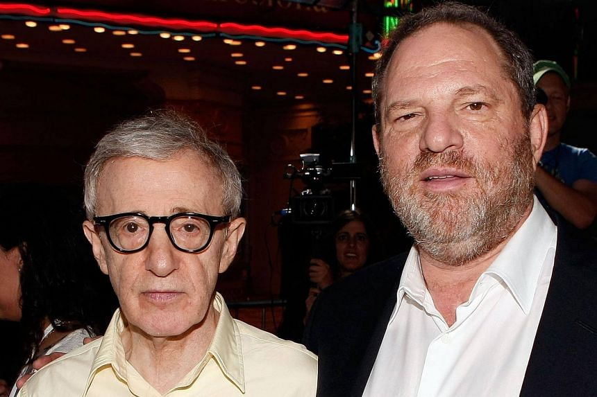 US director Woody Allen (left) and producer Harvey Weinstein arriving on the red carpet at the Los Angeles Premiere of Vicky Cristina Barcelona, on Aug 4, 2008.