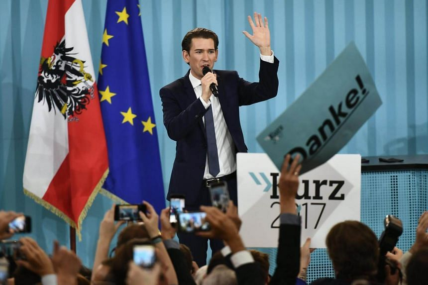Austrian conservative Sebastian Kurz's People's Party (OeVP) was projected to have come first in Sunday's (Oct 15) election with some 31.5 per cent of the vote.