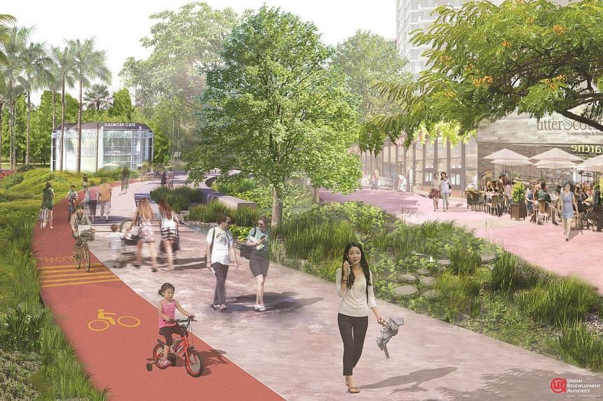 Artist's impression of Kallang Riverside Park with water sensitive design features.