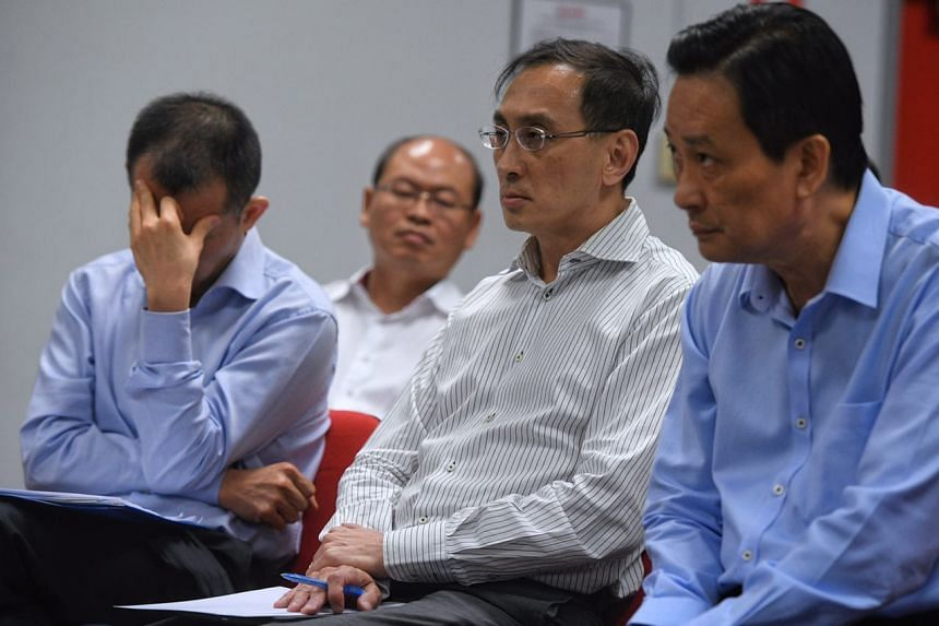 (From left) SMRT trains CEO Lee Ling Wee, SMRT Group CEO Desmond Quek and SMRT chairman Seah Moon Ming during the media briefing.