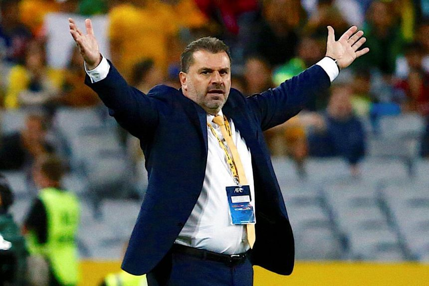 Australia's head coach Ange Postecoglou during the 2018 World Cup Qualification game against Syria at the Olympic Stadium in Sydney, Australia, on Oct 10, 2017.