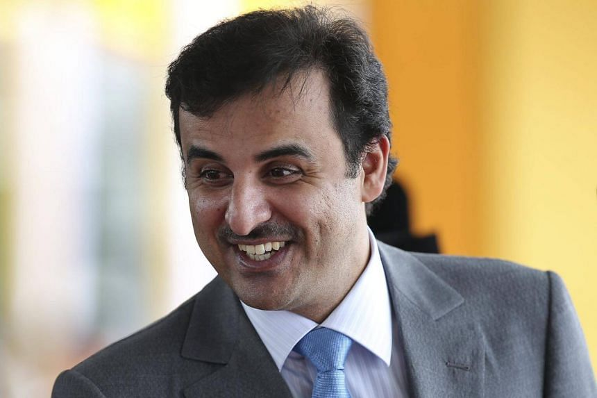Qatar's Emir Sheikh Tamim bin Hamad al-Thani during a welcoming ceremony at the Parliament House in Kuala Lumpur, Malaysia, on Oct 16, 2017.