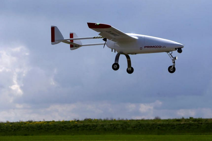 The Primoco One 100, an unmanned aerial vehicle, flies over Vodochody Airport near Prague, Czech Republic, on May 15, 2017.